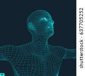 3d model of man. technology... | Shutterstock .eps vector #637705252
