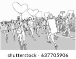 illustration of marching crowd... | Shutterstock .eps vector #637705906