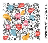 people eat different foods. | Shutterstock .eps vector #637709116