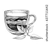 glass cup with tea   Shutterstock . vector #637711642