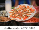 grilled rice paper with egg ... | Shutterstock . vector #637718362