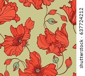 seamless pattern with flowers... | Shutterstock .eps vector #637724212