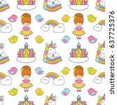 seamless baby pattern with cute ... | Shutterstock .eps vector #637725376