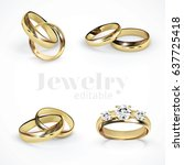 4 vector gold wedding rings | Shutterstock .eps vector #637725418