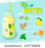 recipe for detox cocktail with... | Shutterstock .eps vector #637736896