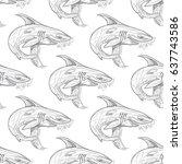 shark pattern on white... | Shutterstock .eps vector #637743586