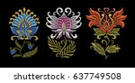 embroidery design. collection... | Shutterstock .eps vector #637749508