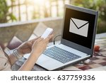woman use cell phone and...   Shutterstock . vector #637759336