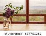 Fresh Lilacs In Glass Bottle I...