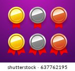 vector medal icons set. blank...