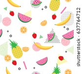 summer and tropical fruits on... | Shutterstock .eps vector #637764712