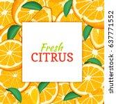 square white label on citrus... | Shutterstock .eps vector #637771552