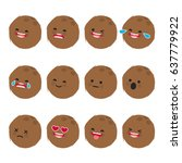 set of emoticons. smile emoji... | Shutterstock .eps vector #637779922