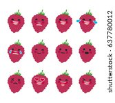set of emoticons. smile emoji... | Shutterstock .eps vector #637780012