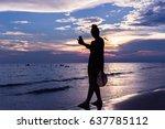 walking the evening sea.    Shutterstock . vector #637785112