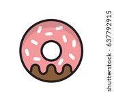 flat vector illustration donut... | Shutterstock .eps vector #637792915