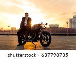 handsome fit rider guy with... | Shutterstock . vector #637798735