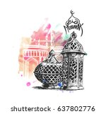 eid mubarak celebration ... | Shutterstock .eps vector #637802776