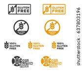 gluten free icons set. vector...   Shutterstock .eps vector #637803196