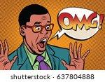 omg black man businessman pop... | Shutterstock .eps vector #637804888