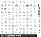 100 vegetables icons set in... | Shutterstock .eps vector #637806478