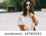 beautiful model in hat and... | Shutterstock . vector #637809292