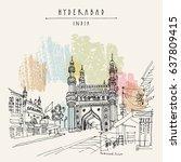 hyderabad  telangana state ... | Shutterstock .eps vector #637809415