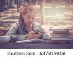women sit back  relax  listen... | Shutterstock . vector #637819606