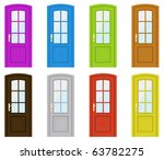 set of multicoloured doors on a ... | Shutterstock .eps vector #63782275