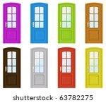 set of multicoloured doors on a ... | Shutterstock .eps vector #63782275