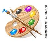 wooden art palette with paints... | Shutterstock .eps vector #63782470