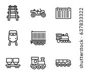 train icons set. set of 9 train ... | Shutterstock .eps vector #637833322