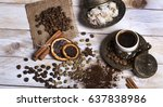 turkish coffee with delight and ... | Shutterstock . vector #637838986