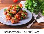 traditional italian beef...   Shutterstock . vector #637842625