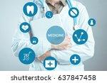 hands of medical doctor woman... | Shutterstock . vector #637847458