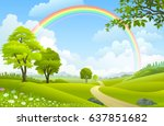 springtime in europe.  | Shutterstock .eps vector #637851682