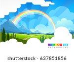 dirt road between a meadow and... | Shutterstock .eps vector #637851856