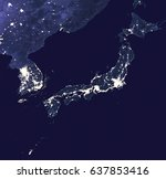 east asia by night   view from... | Shutterstock . vector #637853416