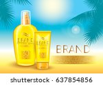 sunscreen sprays and a tube of... | Shutterstock .eps vector #637854856