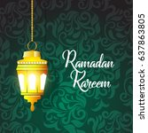 illustration of ramadan kareem... | Shutterstock .eps vector #637863805