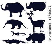 cartoon animals silhouette black   Shutterstock .eps vector #63786673