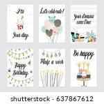 happy birthday party cards set... | Shutterstock .eps vector #637867612