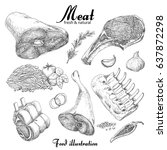set of hand drawn meat isolated ... | Shutterstock .eps vector #637872298