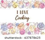 i love cooking. baking tools in ... | Shutterstock .eps vector #637878625