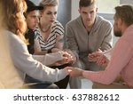 group of teenagers sitting in...   Shutterstock . vector #637882612