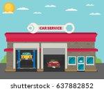 vector car service flat. | Shutterstock .eps vector #637882852