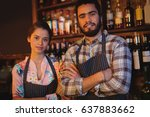 portrait of waiter and waitress ... | Shutterstock . vector #637883662