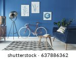 cozy blue and white loft... | Shutterstock . vector #637886362