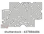 vector maze with answer 64 | Shutterstock .eps vector #637886686