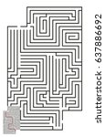 vector maze with answer 66 | Shutterstock .eps vector #637886692